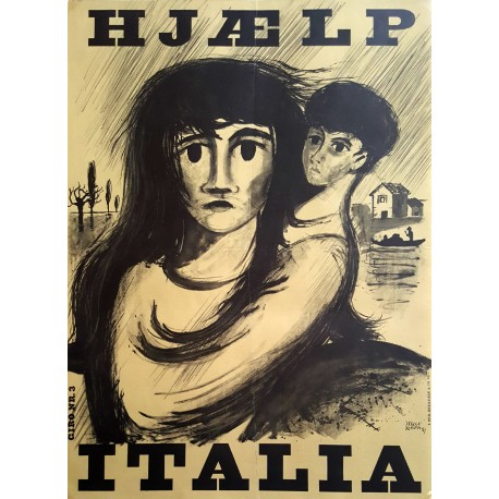 1951 Italy Flooding Campaign Aid Poster - Original Vintage Poster