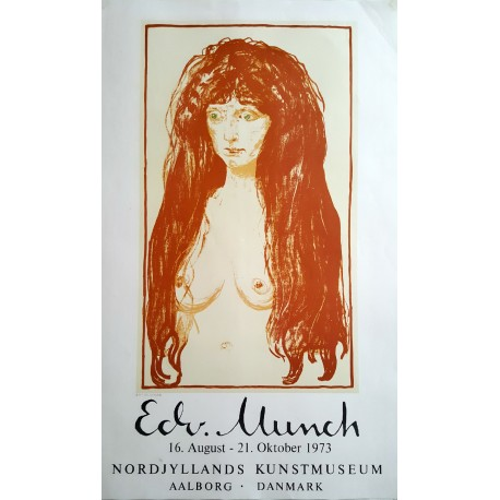 1973 Edvard Munch The Sin (Woman with Red Hair and Green Eyes) - Original Vintage Poster