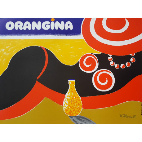 1980s Orangina by Bernard Villemot (linen backed) - Original Vintage Poster