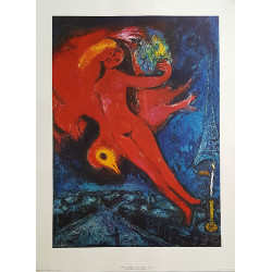 1966 Chagall Model Rouge Art Print - Original Vintage Poster
