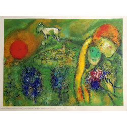 1968 Chagall The lovers of Vence Art Print - Original Vintage Poster