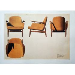2012 Finn Juhl FJ53 Chair Sketch - Original Vintage Poster