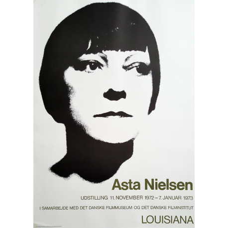 1972 Asta Nielsen Exhibition on Louisiana Museum of Modern Art - Original Vintage Poster