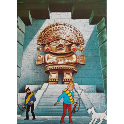 1970 Tintin and the Temple of the Sun - Original Vintage Poster