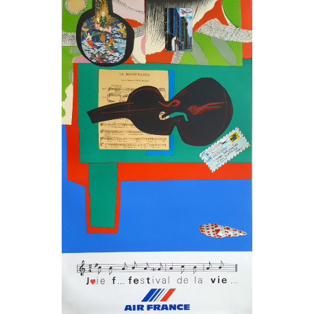 1980 Air France Advertisement by Roger Bezombes - Original Vintage Poster