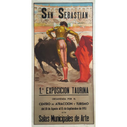 1951 San Sebastian Bullfighting Event - Original Vintage Poster