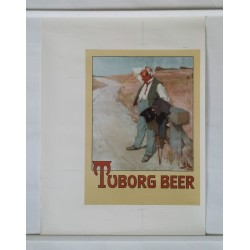 "1950s Tuborg Beer Commercial ""The Thirsty Man"" - Original Vintage Poster"