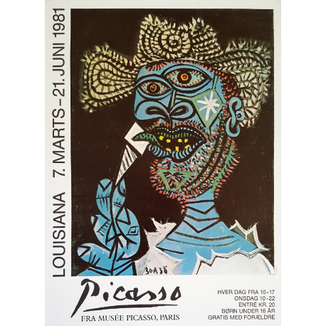 1981 Picasso on Louisiana Exhibition Poster - Original Vintage Poster