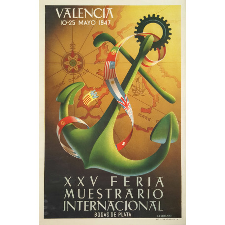 1947 Industrial Exhibition of Valencia - Original Vintage Poster