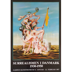 1987 Surrealism Denmark Exhibition Poster - Original Vintage Poster